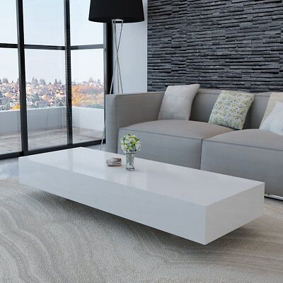 High Gloss Finish White Coffee Table 115cm Side End Square Furniture Living Room