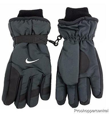 NEW Nike Youth Boy's Winter Snow Insulated Black/Gray Gloves, Size 8/20