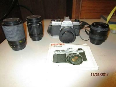 Pentax K-1000 35 Mm Camera With 4 Lenses