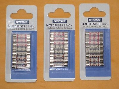 24 x Assorted Mixed Fuses 3amp 5amp 13amp Domestic Household Mains Plug Fuse