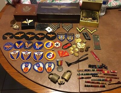 WW2 Junk Drawer Lot Military U.S. US German American Patches Ribbons Compass
