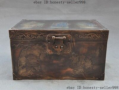 """9""""Collect Chinese bronze Three Kingdoms figures box boxes container"""