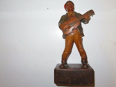 ANRI 12.5 Inch Carved Wood Musician 40 Years 1912-1952