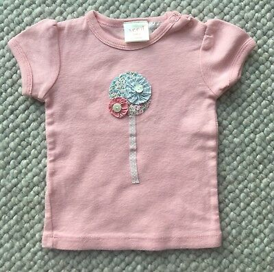 SEED Baby Girl's Pink Short Sleeve Cotton Top Size 0-3 Months