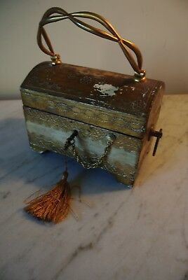 Vintage FLORENTINE GILT Italian Wood Tole ware DOMED TRUNK Chest Box with Key