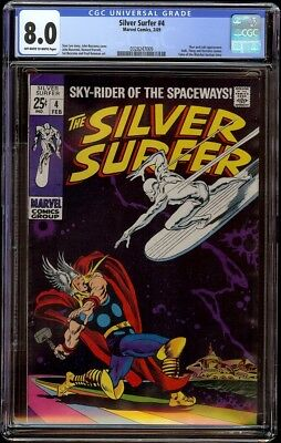 Silver Surfer # 4 CGC 8.0 OW/W (Marvel, 1969) Classic Thor & Silver Surfer cover