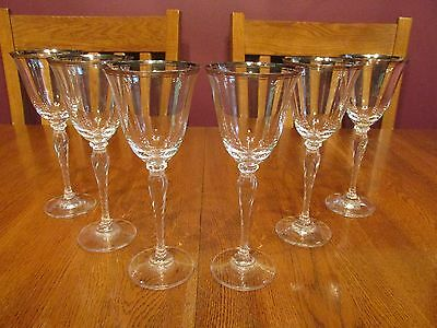 Six Lovely Oscar De La Renta Crystal LaFayette Platinum Rimmed Wine Glasses