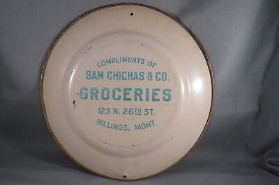 1907 Meek Vienna Tin Litho Tray Advertising,Sam Chichas Groceries,Billings,Mont.
