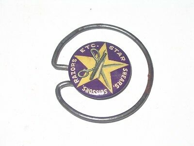 Star Brand Scissors Shears & Razors Celluloid Advertising Paper Clip Odd Design