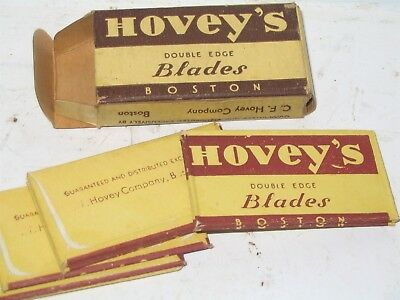 Hovey's Brand Razor Blade Box Full With 10 Wrapped Blades Hovey Co Boston RARE