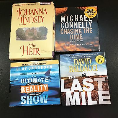 4 Audibooks~~Cd's~ David Baldacci,michael Connelly,johanna Lindsey,clay Jacobsen