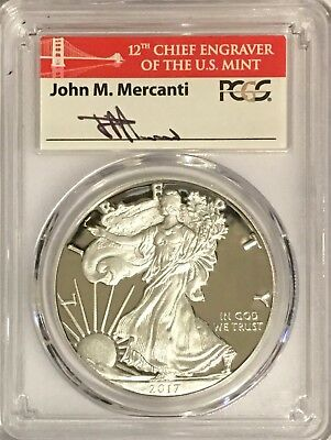 2017 S Proof Silver Eagle Pcgs Pr70 Mercanti Signed From Limited Edition Set