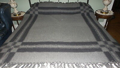 "Antique WOOL BLANKET, Shades of Gray, Fringed, 62""x68"""