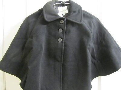 Lilly & Milly Black Snap Button Black Hooded Cape sz 2T / 4T NWT $75