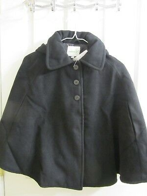 Lilly & Milly Black Snap Button Black Hooded Cape size 4 - 6X NWT $75