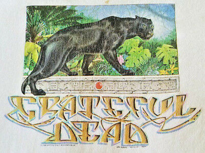 Vintage Grateful Dead 1989 Rainforest Black Panther Large T-Shirt Gdm Mikio Rex