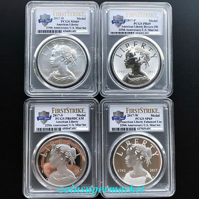 2017 American Liberty 225th Anniversary Silver 4-Medal Set PCGS 69 First Strike!