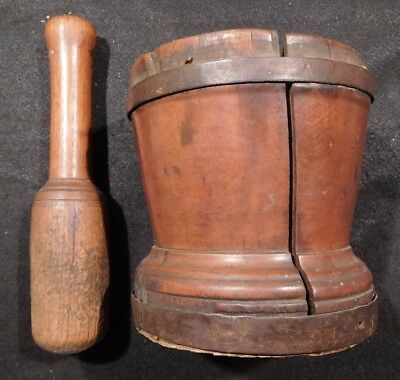 Rare Antique Old Hand Made Primitive Wood Mortar and Pestle-Forged Metal