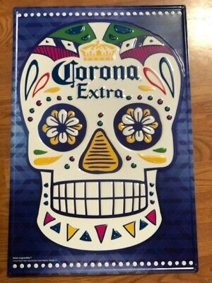 Corona Extra Day of the Dead skull tin sign NEW NEVER DISPLAYED