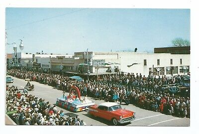 postcard, Shamrock, TX, St. Patrick's Day Parade, 1957 Chevy Chevrolet float