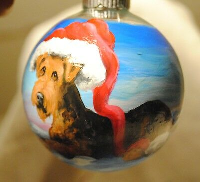 Original Painting~Airedale Terrier~Dog~Christmas Ornament~Hand Painted~art~SALE!