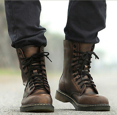 Mens Military Riding Lace Up Flat Oxford Ankle Boots Shoes Punk Vintage Combat