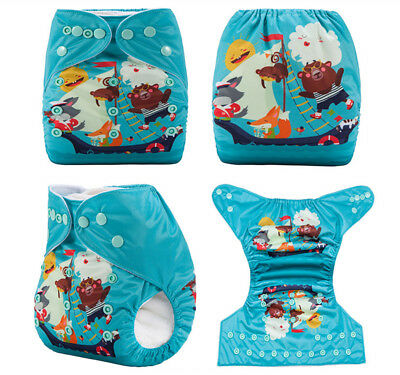 Modern Cloth Reusable Washable Baby Nappy Diaper & Insert, Animals Sailing Boat
