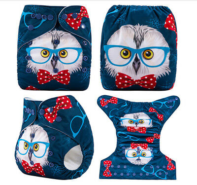 Modern Cloth Reusable Washable Baby Nappy Diaper & Insert, Owl With Bow Tie