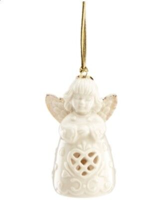 Lenox Angel Wishes Heart Bell Christmas Tree Ornament - Ivory #C254