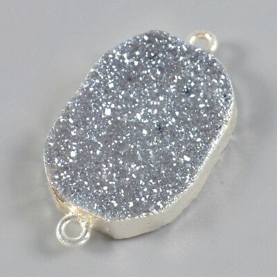 Natural Agate Titanium Druzy Connector Silver Plated T050467