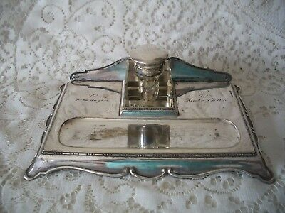 Antique Glass Inkwell Silver Plate Stand A.E&Co NS Fran Rimbo LD UK Pa 40 Dagen