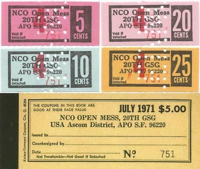 "1971 KOREA 5-10-20 & 25¢ ""NCO Open Mess CHITS"" From Original 20TH SUPPORT GROUP"