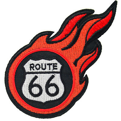Route 66 Patch Iron On Sew Rockabilly Retro Kustom Kulture Tattoo Flame Logo Car