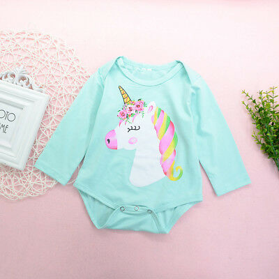 Newborn Toddler Baby Girls Boys Unicorn Romper Jumpsuit Outfits Bodysuit Clothes