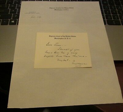 Tom C. Clark Hand Signed Card On Supreme Court Stationery..Assoc.Justice 1949-67