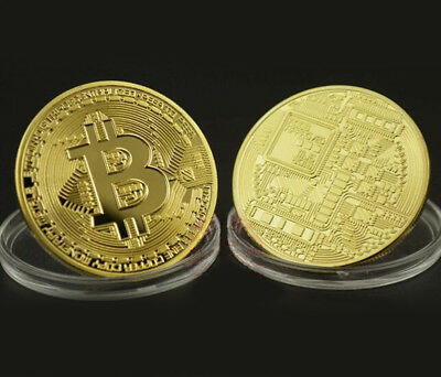 BITCOIN!! (Buy 3 get 1 FREE) Gold Plated Physical BTC in protective acrylic case