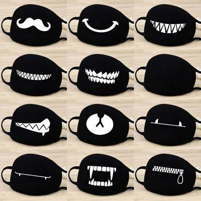 Women Men Cotton Face Masks Pattern Solid Black Mask Half Face Mouth Muffle New