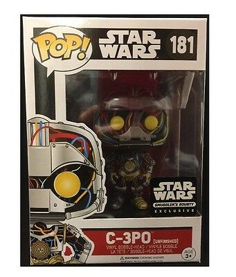 FUNKO POP C-3PO Unfinished #181 Star Wars SMUGGLERS BOUNTY EXCLUSIVE NEW DROIDS