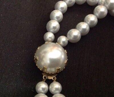 "Double Strand Vintage Baby Blue Faux Pearl Necklace 20"" matching box clasp"