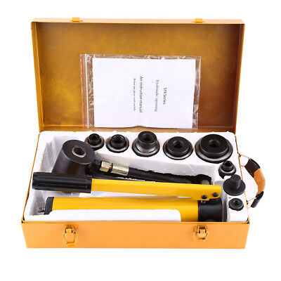 10 Ton Hydraulic Round Hole Punch Opener Kit Metalworking Hand Tool with 6 Dies