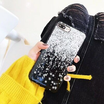 Winter Fashion Bling Glitter Snow Soft Gel Case Cover For iPhone X 6S 7 8 Plus