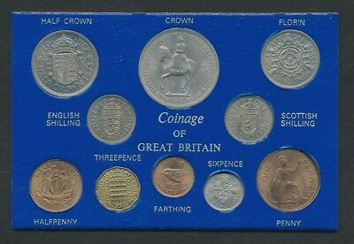 Great Britain: 1953 QEII Coronation ¼d to Crown Set in Presentation Card UNC
