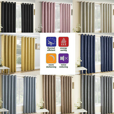 VOGUE Thermal Blockout Lined Curtains Eyelet Ring Top Ready Made Energy Saving
