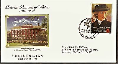 Turkmenistan First Day Cover 1998 In Memory Of Princess Diana