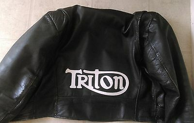 Triton 13 inch synthetic leather back patch w/b, Norton Triumph.Cafe Racer NEW