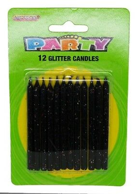 Glitter Candles Pack Of 12 Black Color Birthday Party Supplies Cake Topper