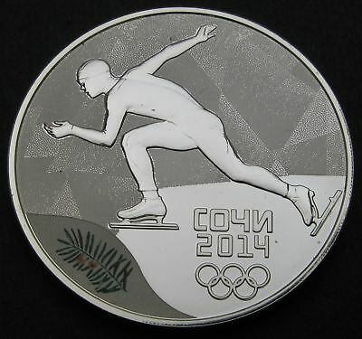 RUSSIA (Federation) 3 Roubles 2014 Proof - Silver - Sochi Speed Skating - 382