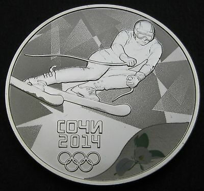 RUSSIA (Federation) 3 Roubles 2014 Proof - Silver - Sochi Alpine Skiing - 385