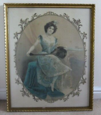 Large 50 x 60 cm Vintage Silk Picture of Maiden with Lute Romantic Shabby Chic