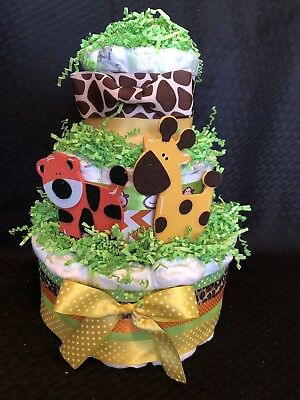 3 Tier Diaper Cake Safari Boy Zoo Monkey Giraffe Tiger animals New